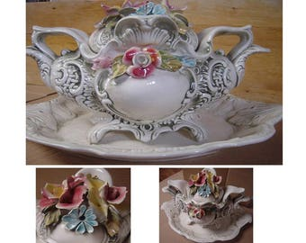 Tureen, Vintage Decorative Tureen, Italian tableware large tureen, dish, video - https://youtu.be/-Ijt8WL3WlE