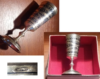 Footed vodka cup, Traditional Russian footed vodka cup, solid silver vodka cup from Bakou 1946/57, video here - https://youtu.be/bS9D9HjGMPs