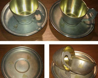 Two antique cups and saucers Silver Plated Russian URSS origin