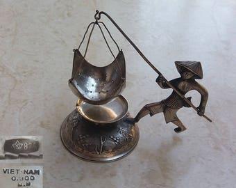 Fisherman Figurine Solid Silver 900 Tea Leaves Infusion Strainer Vietnam with 875 Soviet Hallmark