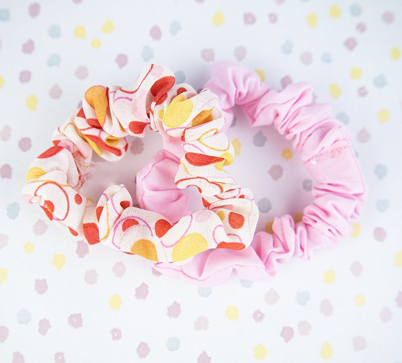 Retro scrunchies Two pack scrunchie set Floral scrunchies Groovy pink and orange scrunchie set XL scrunchies
