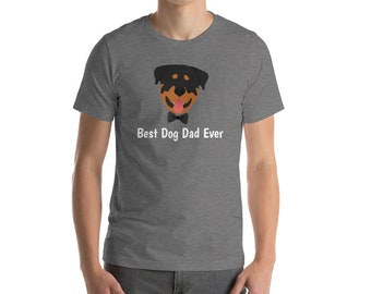 Personalized Rottweiler Short-Sleeve Unisex T-Shirt, Rottweiler T-shirt, Custom Dog T-shirt, Rottweiler Dad, Dog, Best Dog Dad Ever T-shirt
