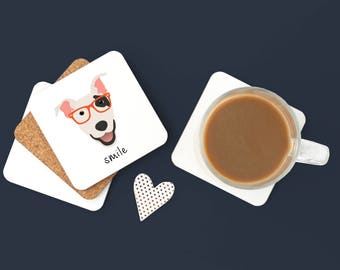 Personalized Bull Terrier Coasters, Bull Terrier Gifts, Custom Bull Terrier Gifts,Dog Coasters,Bull Terrier, Bull Terrier Coaster (Set of 2)