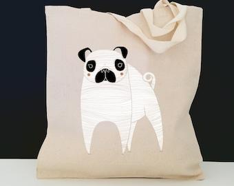Personalized Pug Tote Bag (FREE SHIPPING), 100% Cotton Canvas Dog Tote Bag, Pug Tote, Customized Dog Totes, Custom Pug Gift, Pug Tote Bag