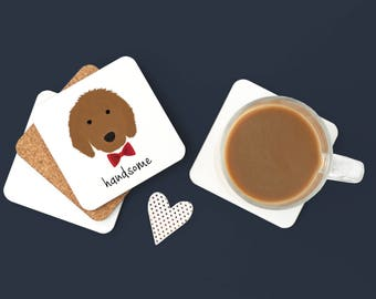Personalized Goldendoodle Coasters, Goldendoodle Gifts, Custom Goldendoodle Gifts, Goldendoole, Goldendoodle with Bow Tie Coaster (Set of 2)