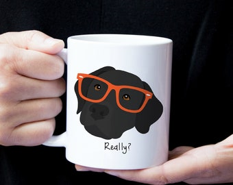 Personalized Labrador Retriever Mug, Labrador Retriever Coffee Mug, Hipster Lab Mug, Dog Mug, Black Lab Coffee Mug, Black Lab Mug, Lab Mug