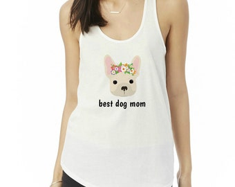 Personalized French Bulldog Tank Top, Ladies' Shirttail Tank, Custom Dog Tank Top, Dog Tank Top for Women, Dog, French Bulldog Mom Tank Top