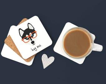 Personalized Husky Coasters, Husky Gifts, Husky Coaster, Husky with Glasses, Dog Coasters, Husky, Husky Drinkware, Husky Coaster (Set of 2)