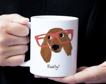Personalized Dachshund Mug, Long Haired Dachshund Mug, Dachshund with Glasses Mug, Dachshund with Glasses, Dachshund Coffee Mug, Wiener Dog