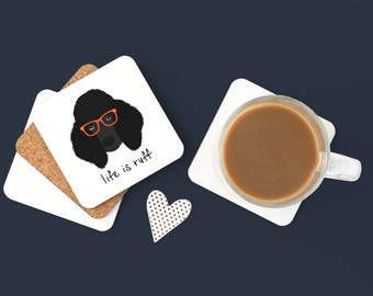 Personalized Poodle Coasters, Poodle Gifts, Custom Poodle Gifts, Black Poodle, Poodle Coasters, Dog, Poodle with Glasses Coaster (Set of 2)