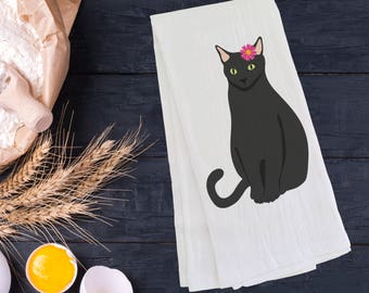 Personalized Black Cat Tea Towel (FREE SHIPPING), 100% Cotton flour sack towel,Cat Tea Towel, Cat Gift, Cat Dish Towel, Cat Gifts,Black Cat