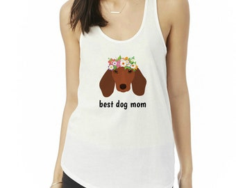 Personalized Dachshund Tank Top, Ladies' Shirttail Tank, Custom Dog Tank Top, Dog Tank Top for Women, Wiener Dog Tee,Dachshund Mom Tank Top