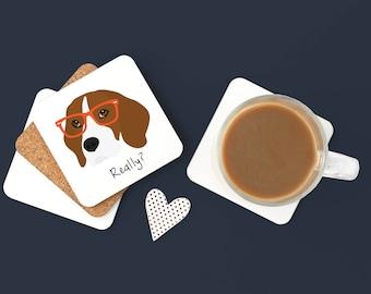 Personalized Beagle Coasters, Beagle Gifts, Custom Beagle Gifts, Beagle Coasters, Dog Coasters, Beagle Drinkware, Beagle Coaster (Set of 2)