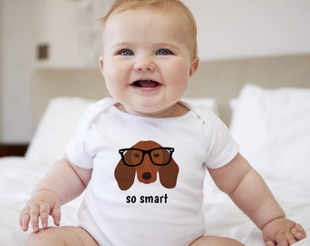 Personalized Dachshund Baby One-piece, Dachshund Baby Bodysuit, Custom Dog One-piece, Custom Dachshund Bodysuit, Dog Infant Bodysuit, Baby