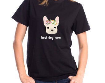 Personalized French Bulldog Short-Sleeve Unisex T-Shirt, French Bulldog T-shirt, Custom Dog T-shirt, Frenchie, Best Dog Mom Ever T-shirt