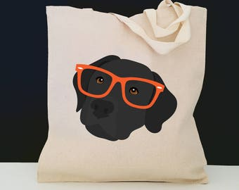 Personalized Black Lab with Glasses Tote Bag (FREE SHIPPING), 100% Cotton Canvas Dog Tote Bag, Black Lab Tote, Dog Totes, Black Lab Gift,Lab