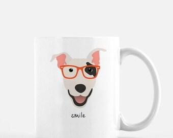 Personalized Bull Terrier Mug, Bull Terrier Coffee Mug, Bull Terrier with Glasses Mug, Dog Mug, Bull Terrier Coffee Cup, Custom Bull Dog Mug