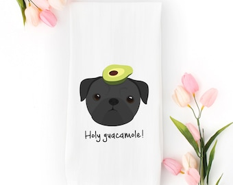 Personalized Pug Tea Towel (FREE SHIPPING), 100% Cotton flour sack towel, Pug Tea Towel, Pug Gifts, Pug with Avocado Tea Towel,Dog Tea Towel