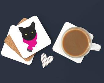 Personalized Black Cat Coasters, Black Cat Gifts, Custom Black Cat Gift, Custom Cat, Cat Coasters, Cat Coaster, Black Cat Coaster (Set of 2)