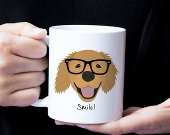 Personalized Golden Retriever Mug, Golden Retriever Coffee Mug, Golden Retriever with Glasses Mug, Dog Mug, Golden Retriever Coffee Cup