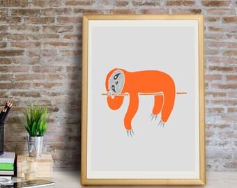 Sleepy Sloth Art Print, Sloth Wall Art, Sloth Wall Decor, Sloth Giclée Print, Sloth Art Print, Sloth Wall Art, Sloth Wall Decor, Sloth Print