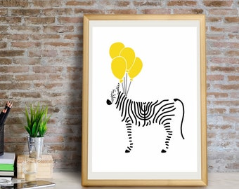 Zebra with Balloons Art Print, Zebra Wall Art, Zebra Wall Decor, Zebra Giclée Print, Zebra Print, Zebra Wall Art, Zebra Wall Decor, Zebra