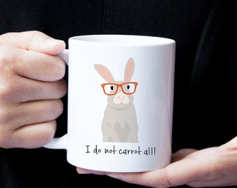 Personalized Bunny Mug, Bunny Coffee Mug, Bunny Mug, Rabbit Mug, Bunny with Glasses Mug, Bunny Coffee Cup, Rabbit Gift, Rabbit Coffee Mug