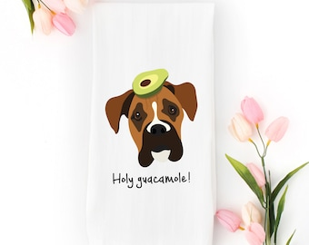 Personalized Boxer Tea Towel (FREE SHIPPING), 100% Cotton flour sack towel, Boxer Tea Towel, Boxer Dish Towel, Customized Boxer Gifts, Boxer