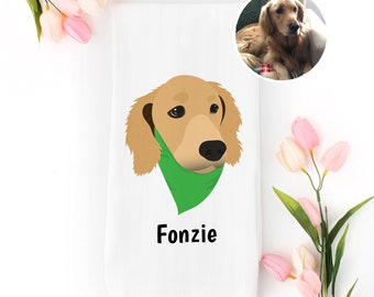 Custom Dog Tea Towel, 100% Cotton flour sack towel, Custom Pet Tea Towel, Custom Dog Dish Towel, Custom Tea Towel, Dog, Custom Dog Portrait