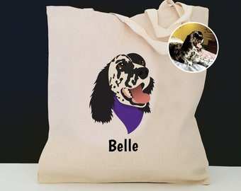 Custom Dog Tote Bag, Customized Dog Bag, 100% Cotton Canvas Dog Tote, Custom Pet Tote, Personalized Dog Tote, Custom Dog Portrait Tote Bag