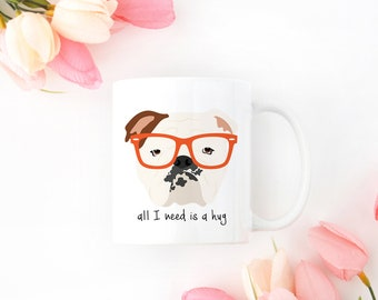 Personalized English Bulldog Mug, English Bulldog Coffee Mug, English Bulldog with Glasses Mug, Bulldog Coffee Mug, English Bulldog Cup