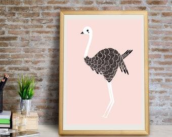 Ostrich Art Print, Ostrich Wall Art, Ostrich Wall Decor, Ostrich Giclée Print, Ostrich Decor, Ostrich Art, Ostrich Gift, Ostrich Art Print
