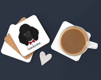 Personalized Poodle Coasters, Poodle Gifts, Custom Poodle Gifts, Black Poodle, Poodle Coasters, Dog, Poodle with Bow Tie Coaster (Set of 2)