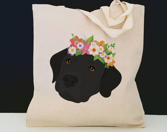 Personalized Black Lab with Flower Tote Bag (FREE SHIPPING), 100% Cotton Canvas Dog Tote Bag, Black Lab Tote, Dog Totes, Black Lab Gift, Lab