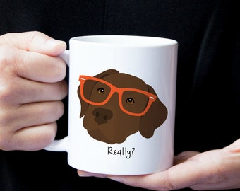 Personalized Chocolate Labrador Retriever Mug, Chocolate Lab Coffee Mug, Lab Coffee Mug, Dog Mug, Chocolate Lab Mug, Lab with Glasses Mug