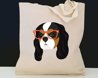 Personalized Cavalier with Glasses Tote Bag (FREE SHIPPING), 100% Cotton Canvas Dog Tote Bag, Cavalier Tote, Dog Totes, Cavalier Gifts