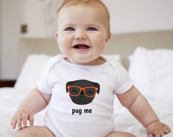 Personalized Pug Baby One-piece, Pug Baby Bodysuit, Custom Dog One-piece, Custom Pug One-piece, Dog Baby Bodysuit, Dog Bodysuit,Pug Bodysuit