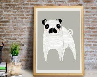 Pug Art Print, Pug Wall Art, Pug Wall Decor, Pug Decor, Pug Giclée Print, Pug Home Decor, Pug Art, Pug Gift, Pug Portrait, Pug Art Print