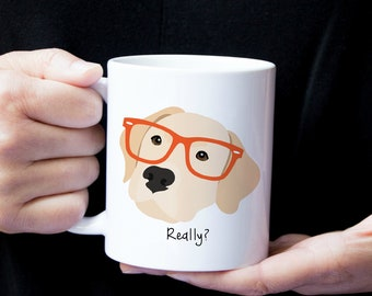 Personalized Labrador Retriever Mug, Yellow Lab Coffee Mug, Lab Coffee Mug, Dog with Glasses Mug, Yellow Lab Mug, Lab Coffee Mug, Lab Cup