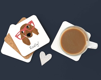 Personalized Dachshund Coasters, Long Haired Dachshund Coaster, Dachshund Coaster, Hipster Dachshund,Wiener Dog,Dachshund Coaster (Set of 2)