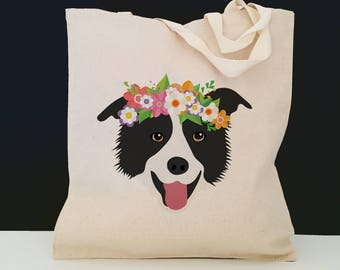 Personalized Border Collie with Flower Tote Bag (FREE SHIPPING), 100% Cotton Canvas Dog Tote Bag, Border Collie Tote, Dog Tote, Dog Gift