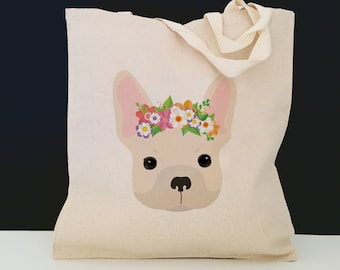 Personalized French Bulldog with Flower Tote Bag (FREE SHIPPING), 100% Cotton Canvas Dog Tote Bag, Frenchie Tote, French Bulldog Gift, Dog
