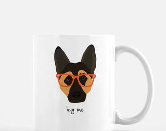 Personalized German Shepherd Mug, German Shepherd Coffee Mug, German Shepherd with Glasses Mug, Dog Mug, Customized German Shepherd Mug, Dog