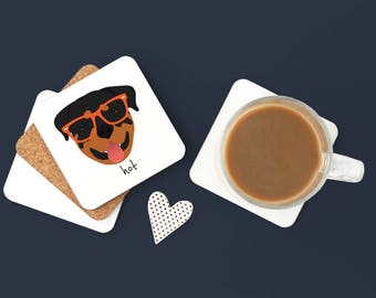 Personalized Rottweiler Coasters, Custom Rottweiler Gifts, Rottweiler, Rottweiler Coasters, Dog, Rottweiler with Glasses Coaster (Set of 2)