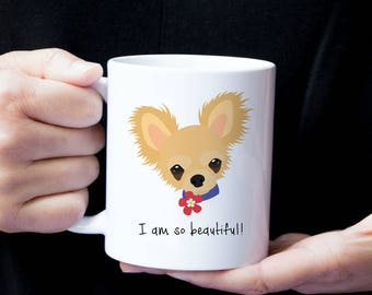 Personalized Chihuahua Mug, Customized Chihuahua Gift, Chihuahua with Flower Mug, Custom Dog Mug, Chihuahua Mug, Dog, Chihuahua Coffee Mug