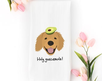 Personalized Golden Retriever Tea Towel (FREE SHIPPING), 100% Cotton flour sack towel, Golden Retriever Tea Towel, Golden Retriever Gifts