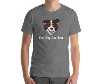 Personalized Border Collie Short-Sleeve Unisex T-Shirt, Border Collie T-shirt, Custom Dog T-shirt, Dog T-shirt, Best Dog Dad Ever T-shirt