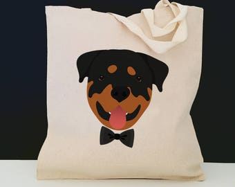 Personalized Rottweiler Tote Bag (FREE SHIPPING), 100% Cotton Canvas Dog Tote Bag, Custom Dog Tote, Rottweiler Gifts, Rottweiler Tote Bag