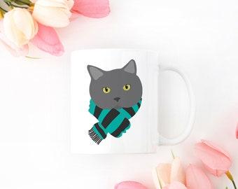 Personalized Gray Cat Mug, Gray Cat Coffee Mug, Cat Mug, Cat with Scarf Coffee Mug, Gray Cat Coffee Cup, Gray Cat Cup, Grumpy Cat Mug, Cat