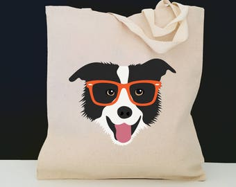 Personalized Border Collie with Glasses Tote Bag (FREE SHIPPING), 100% Cotton Canvas Dog Tote Bag,  Border Collie Tote, Dog Tote, Dog Gift
